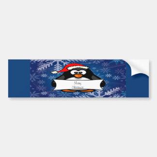 Holiday Penguin Car Bumper Sticker