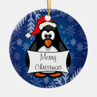 Holiday Penguin Ceramic Ornament