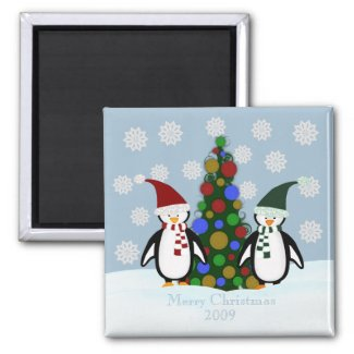 Holiday Penguin Family Christmas Magnet magnet