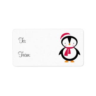 Holiday Penguin Gift Tag Custom Address Label
