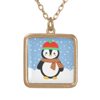 Holiday Penguin Gold Plated Necklace