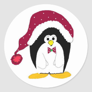 Holiday Penguin In Red Hat Classic Round Sticker