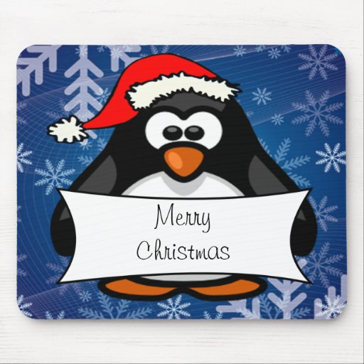 Holiday Penguin Mouse Pad