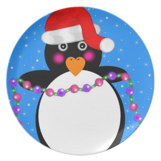 Holiday Penguin Party Plate