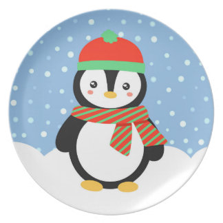 Holiday Penguin Plate