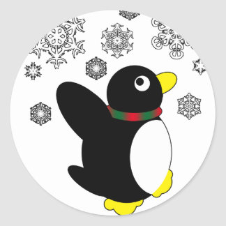 Holiday Penguin Round Sticker