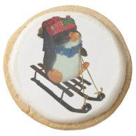 Holiday Penguin Shortbread Cookies Round Sugar Cookie