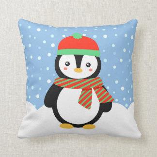 Holiday Penguin Throw Pillow