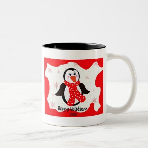 Holiday Penguin Two-Tone Coffee Mug