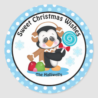 Holiday Penguin with Gumdrops and Lollipop Classic Round Sticker