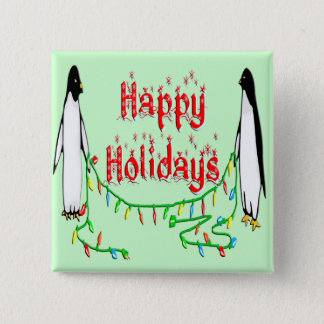 Holiday Penguins Button