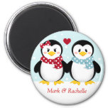 Holiday Penguins Christmas Magent 2 Inch Round Magnet