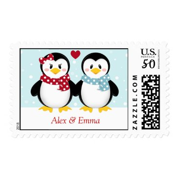 Valentines Themed Holiday Penguins Christmas Postage