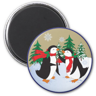 Holiday Penguins 2 Inch Round Magnet