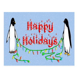 Holiday Penguins Postcard