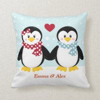 Holiday Penguins Throw Pillow