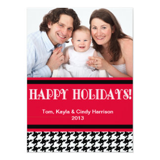 "Holiday Personalizable Photo Card - Houndstooth 5.5"" X 7.5"" Invitation Card"