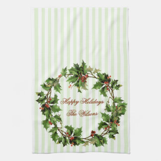 Holiday Personalized Vintage Holly Wreath Towel
