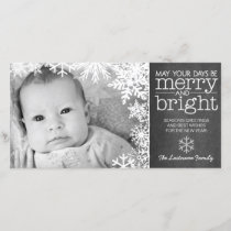Holiday Photo Card: Chalkboard with 1 Photo & snow