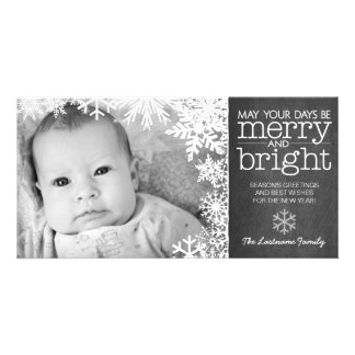 Holiday Photo Card: Chalkboard with 1 Photo & snow Photo Card