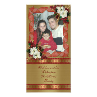 Holiday photo card classic red and gold