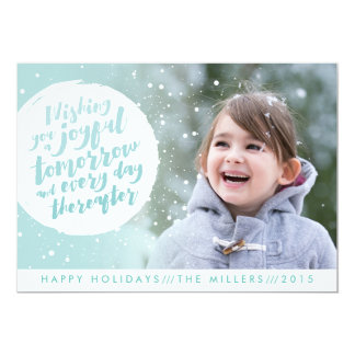 Holiday photo card featuring a snowball
