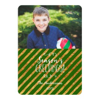 Holiday Photo Card Green and Gold