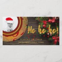 Holiday Photo Card Ho Ho Ho Rustic Wood Wreath