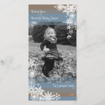 Holiday Photo Card: Let It Snow! Beige Blue