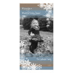 Holiday Photo Card: Let It Snow! Beige Blue Card at Zazzle