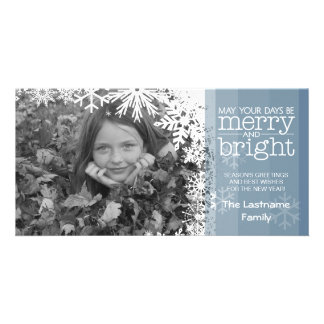 Holiday Photo Card: Let It Snow! Blue Ombre Photo Card