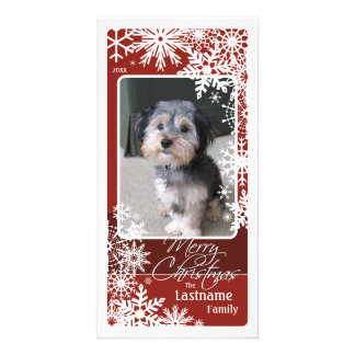 Holiday Photo Card: Let It Snow! Burgundy Photo Card