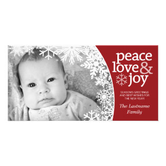 Holiday Photo Card: Let It Snow! Red White Card