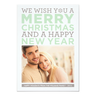 "Holiday Photo Card | Modern Christmas Wishes 5"" X 7"" Invitation Card"