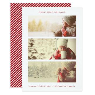 HOLIDAY PHOTO CARD   Modern Minimal Red Christmas