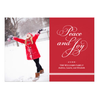 Holiday Photo Card   Peace and Joy in Red & White