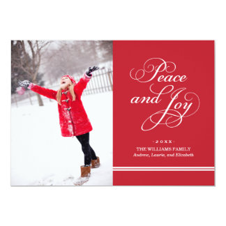 Holiday Photo Card | Peace and Joy in Red & White