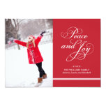 Holiday Photo Card   Peace and Joy in Red & White Invite