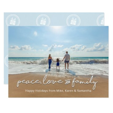Beach Themed Holiday Photo Card | Peace, Love and Family