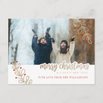 Holiday Photo Card | Red Berries & Gold Glitter