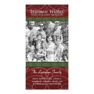 Holiday Photo Card: Red & Green Swirls Photo Card