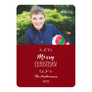 Holiday Photo Card Red Merry Christmas