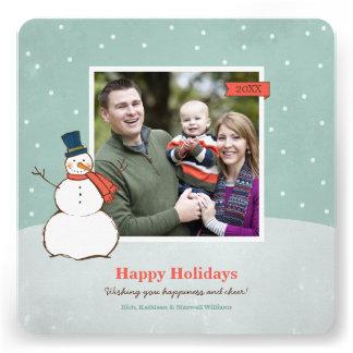 Holiday Photo Card Winter Snowman Custom Invites