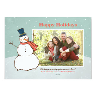 Holiday Photo Card | Winter Snowman Theme Invites