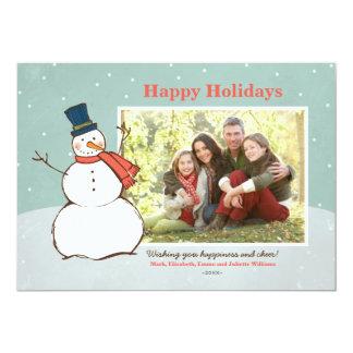 Holiday Photo Card | Winter Snowman Theme Invites