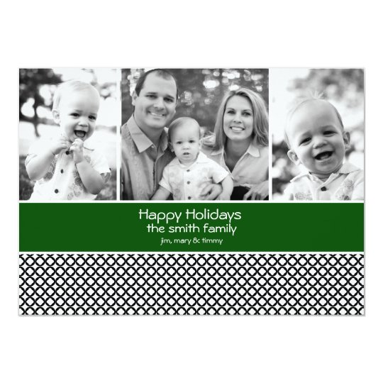 Holiday Photo Card with 3 photos Green