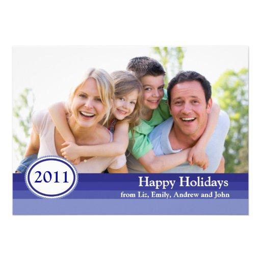 Holiday Photo Card with Stripes Custom Invite