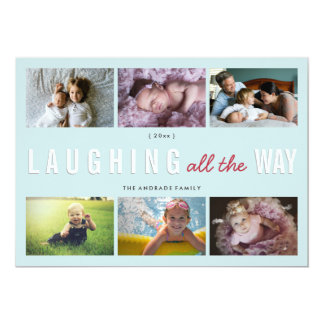 Holiday Photo Collage Christmas Laughing All Way Card