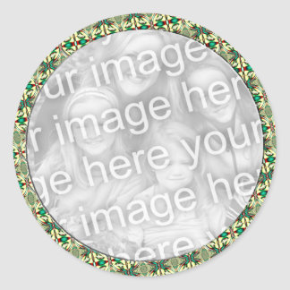 Holiday Photo Frame Classic Round Sticker