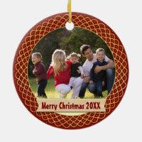Holiday Photo Frame Monogram Red Gold Christmas Ceramic Ornament